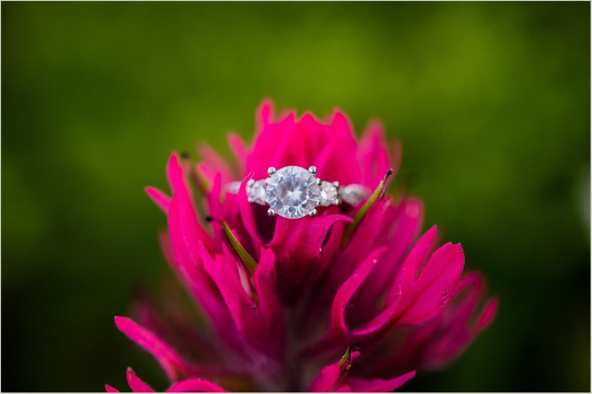Mount Rainier Wildflowers Engagement Ring Shot