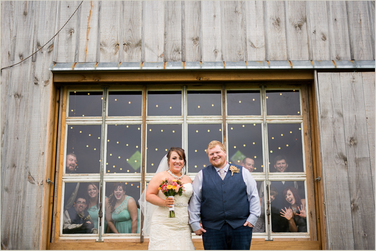 Bridal Party Photobomb Couple at Schwinn Produce Farm Wedding