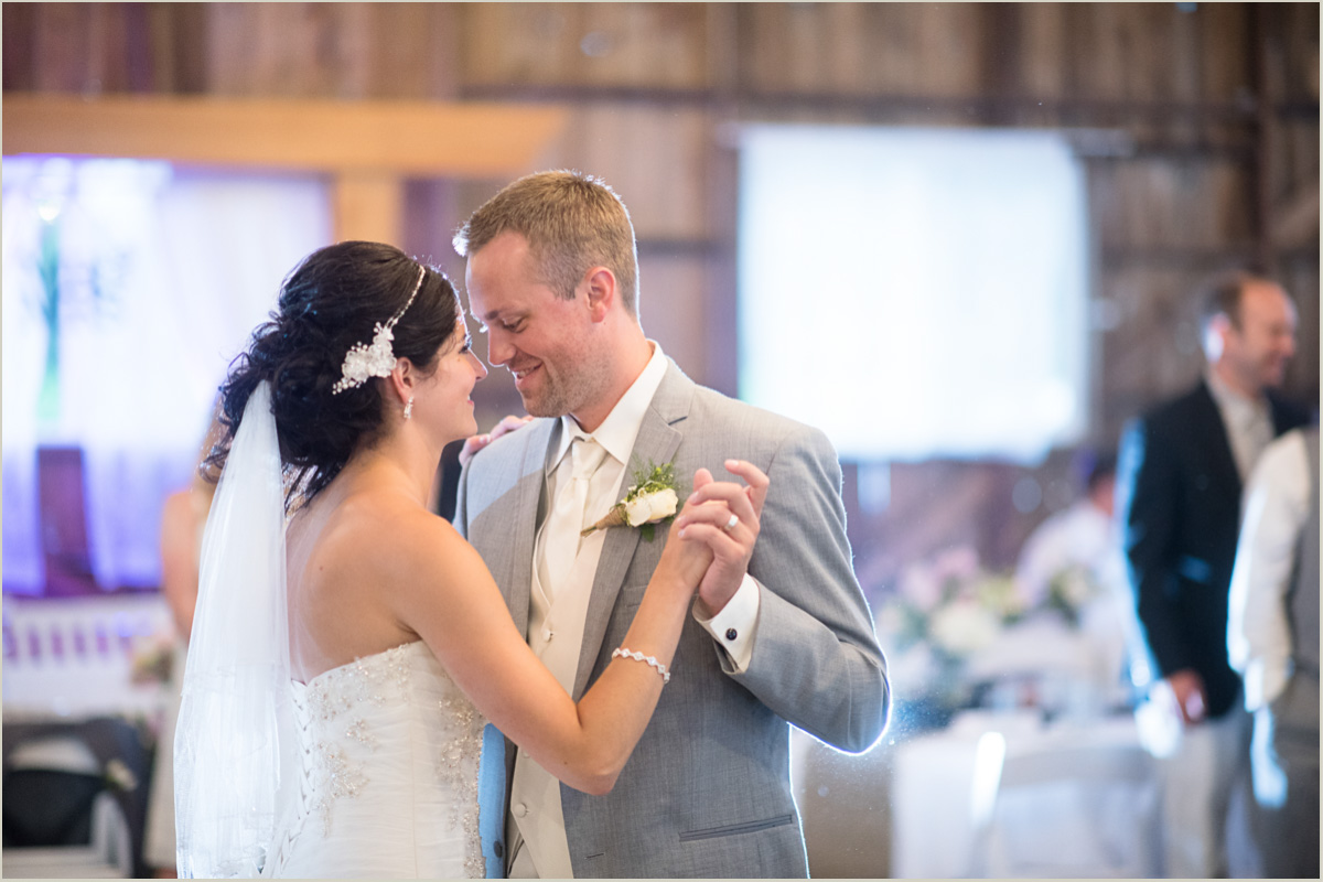 Bride and Groom First Dance Barn Wedding