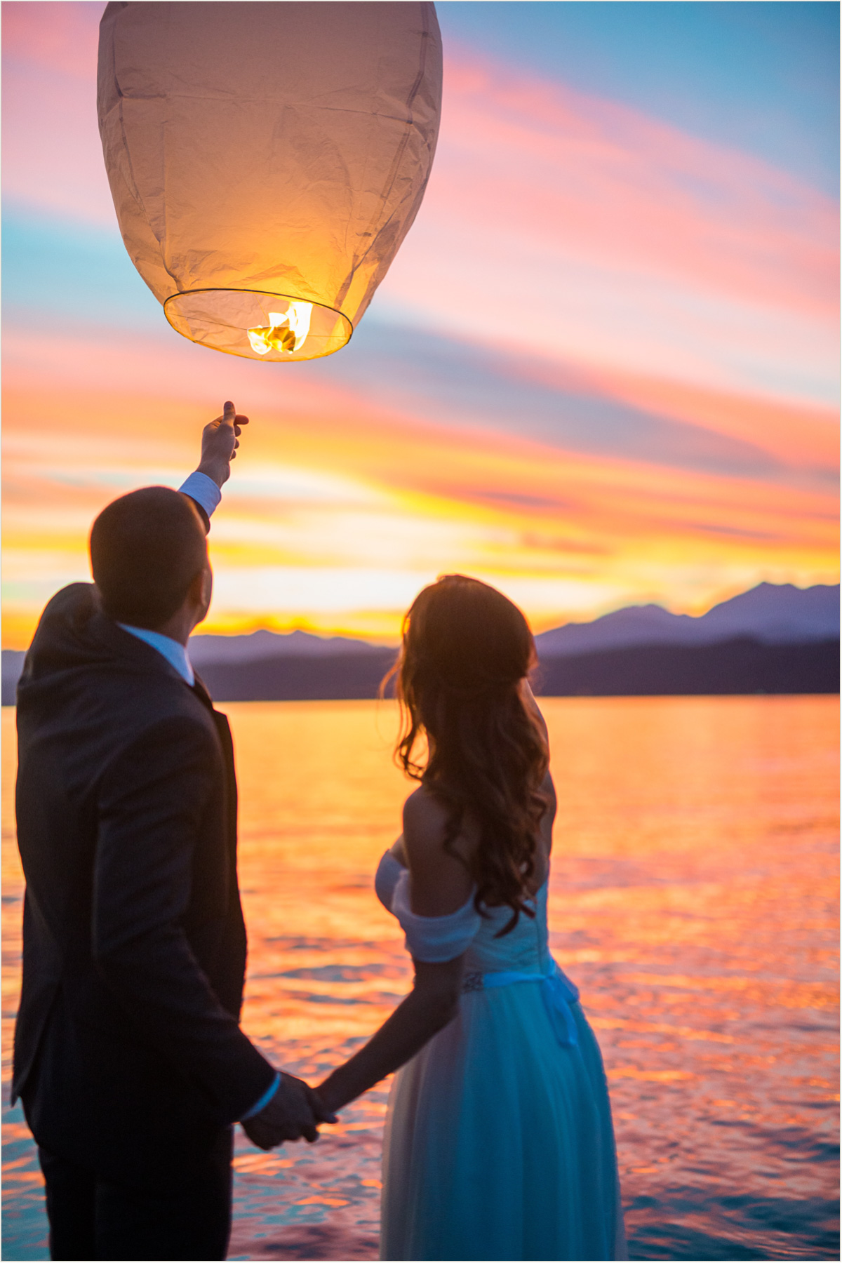 Bride and Groom Lantern Send Off over Hood Canal