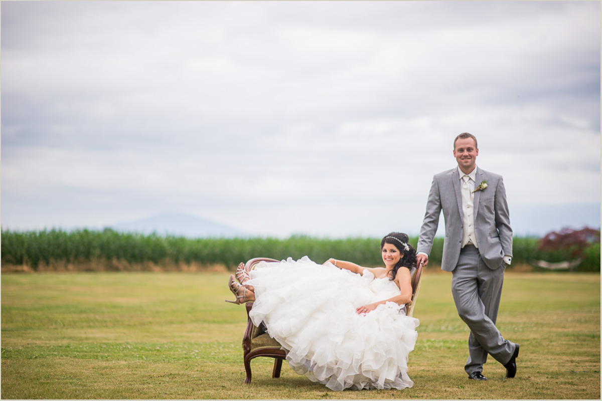 Bride and Groom Portraits with Antique Chair Bellingham Wedding Photographer