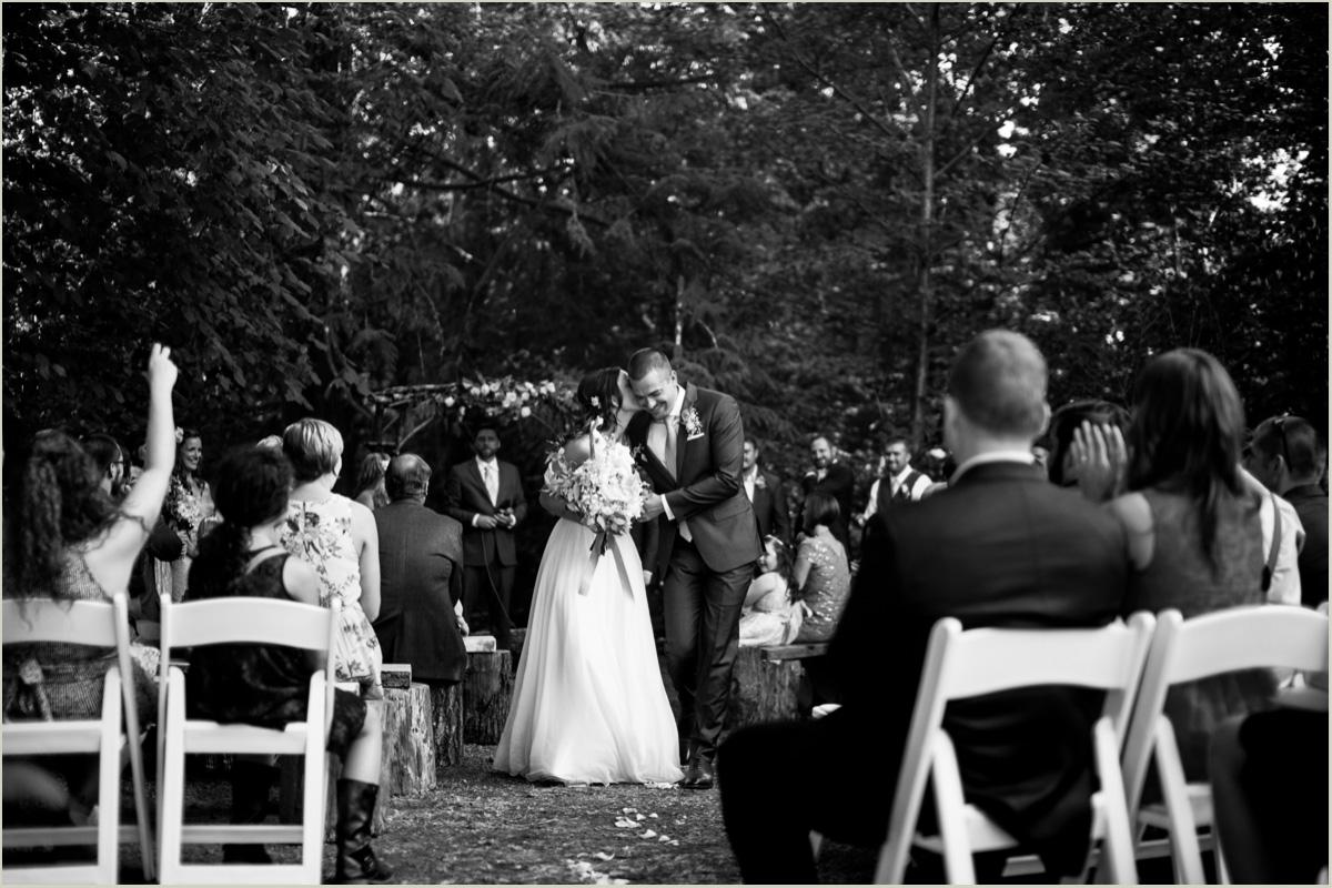 Bride and Groom after Ceremony at Robin Hood Village