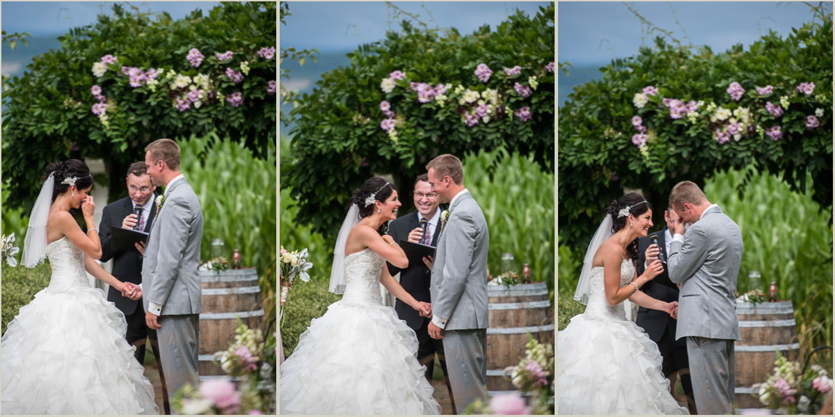 Bride and Grooms Emotions During Ceremony at Maplehurst Farm