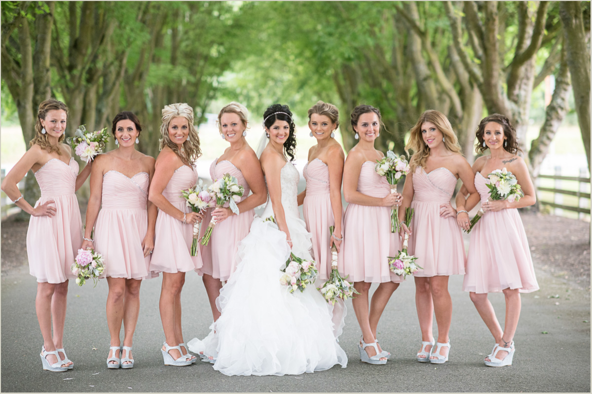 Bridesmaids Pink Country Wedding at Maplehurst Farms