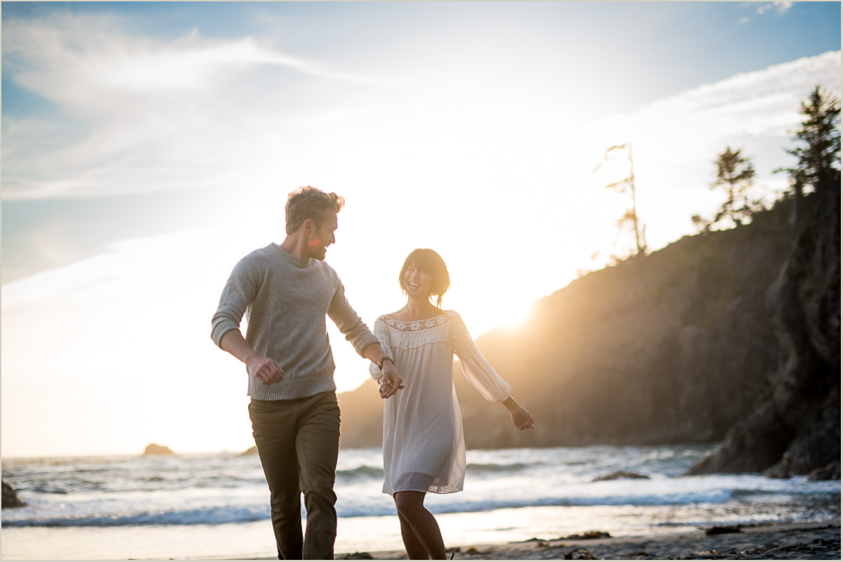 Couples Engagement Photos on Second Beach at La Push