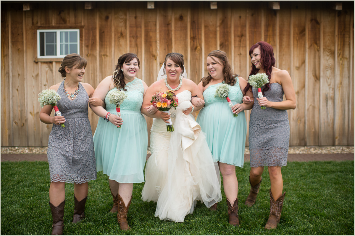 Fun Bridal Party Photos at Barn Wedding