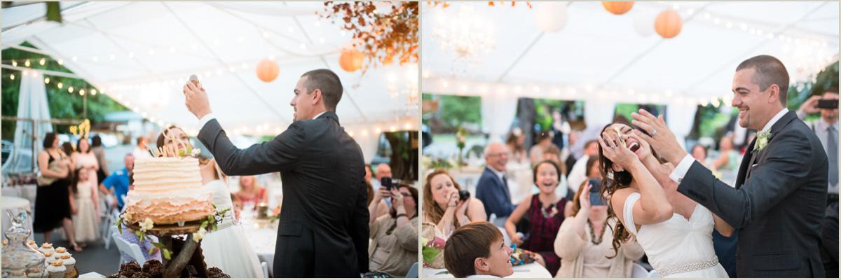Fun Wedding Couple Smashes Cake in Face