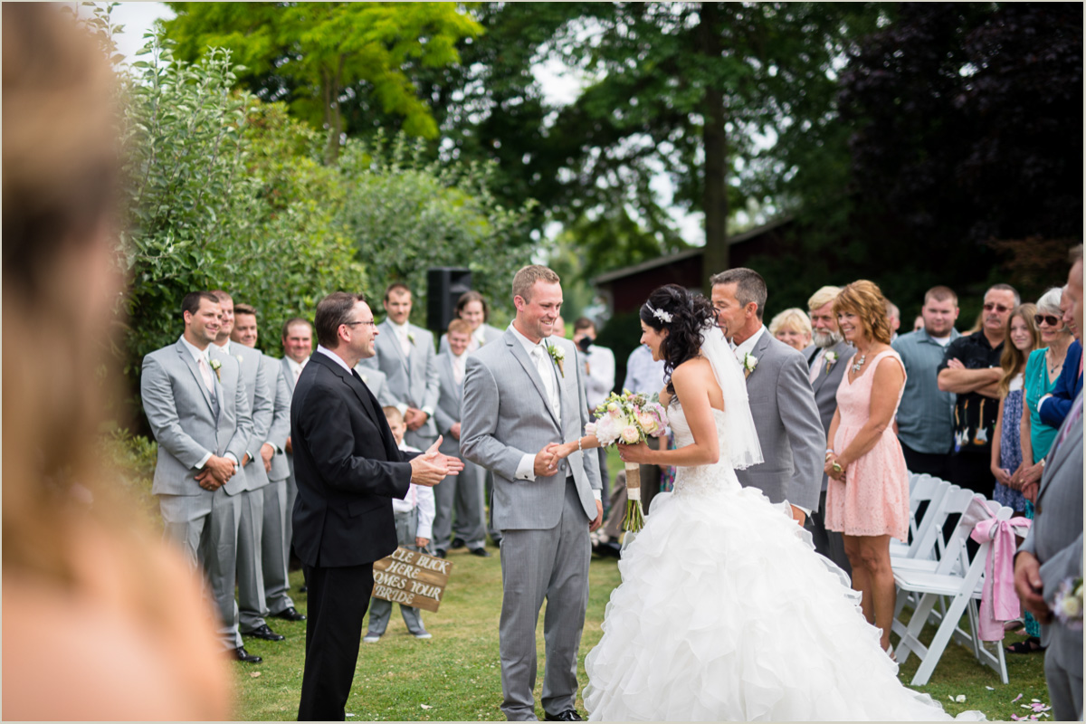 Groom Receives Bride Outdoor Bellingham Wedding