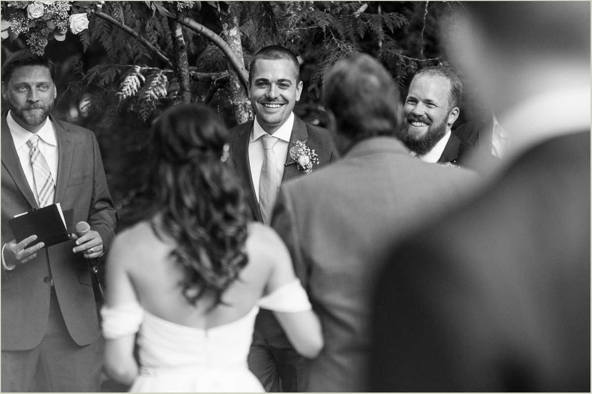 Grooms Reaction to Bride Walking Down the Aisle