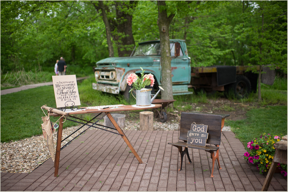 Guest Book Table at Rustic Schwinn Produce Farm Wedding
