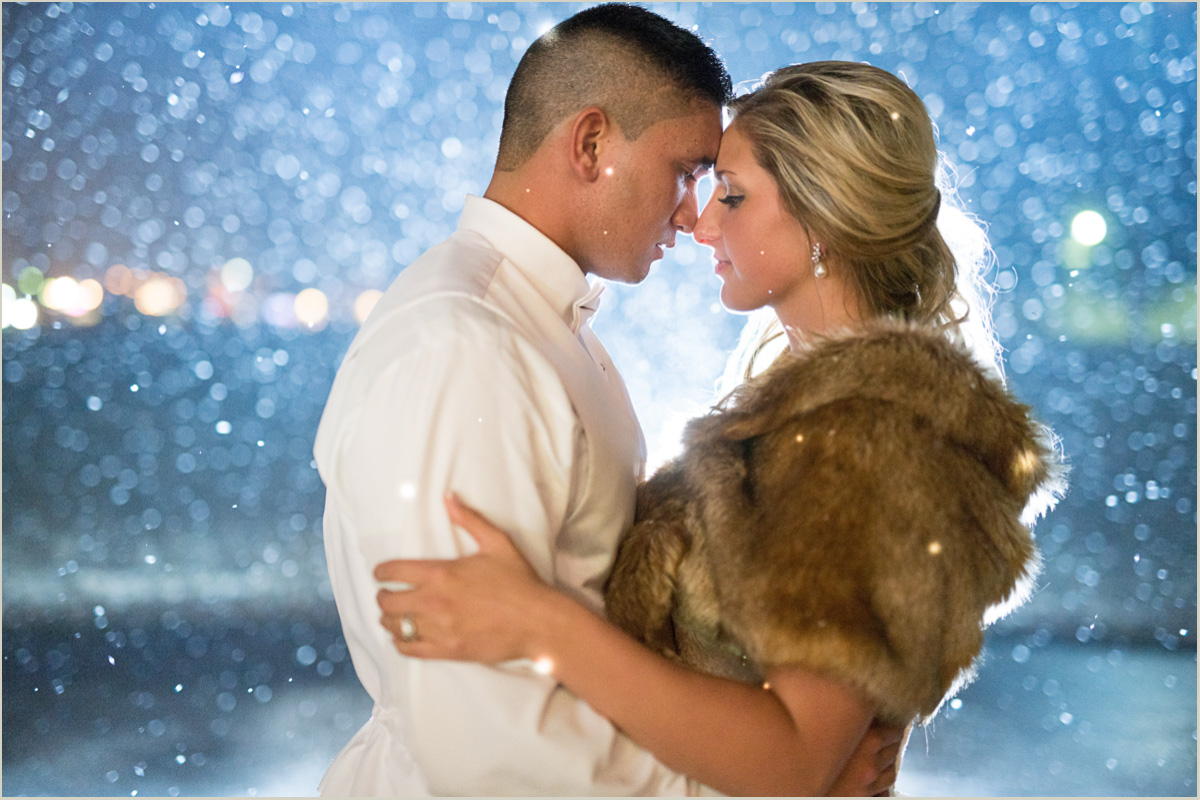 Husband and Wife in the Snow Winter Wedding Photos