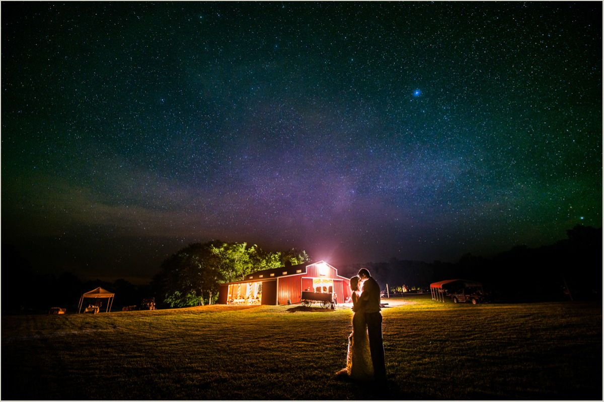Night Wedding Portraits Bride and Groom Under Milky Way