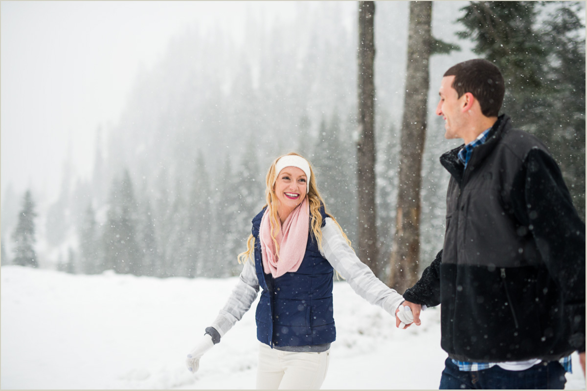 Snowy Engagement Session at Snoqualmie Pass