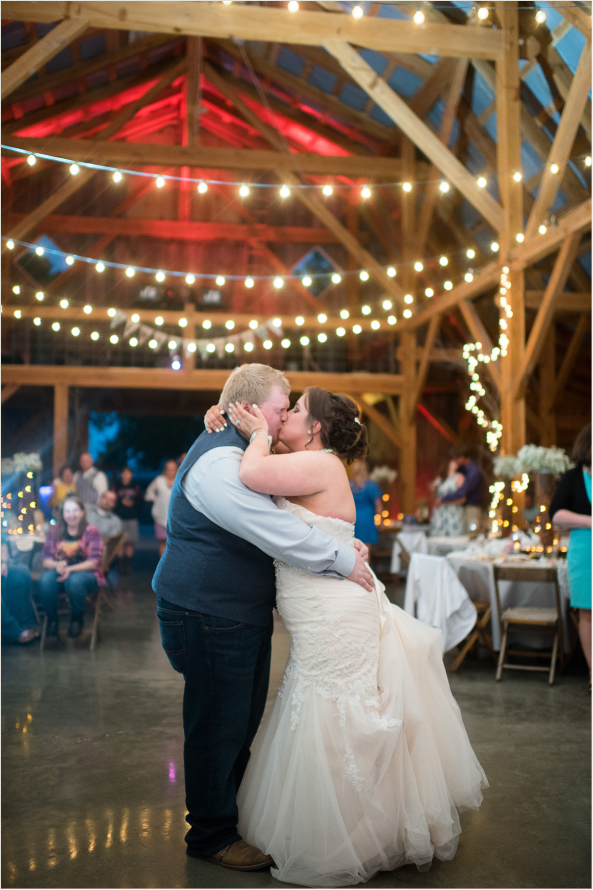 The Barn at Schwinn Produce Farm Wedding Lit Up at Night