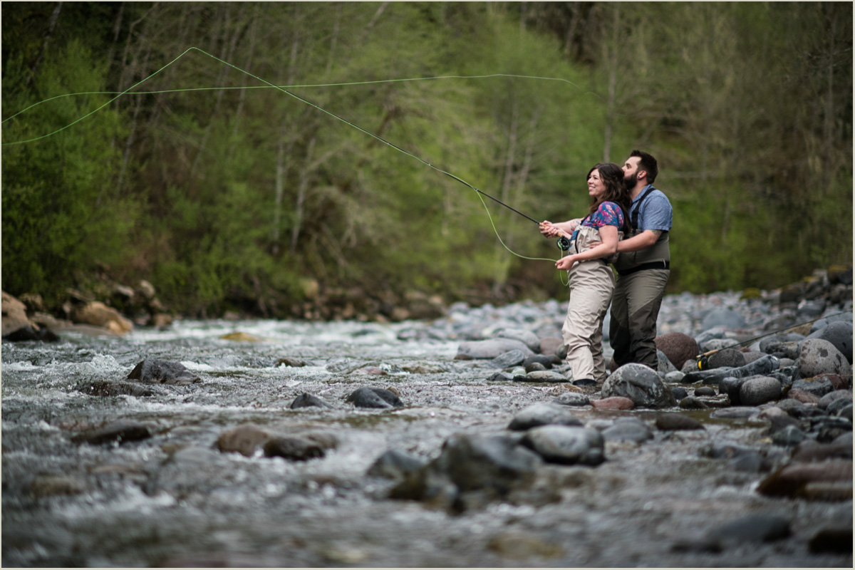 Washington Fly Fishing Engagement Photos