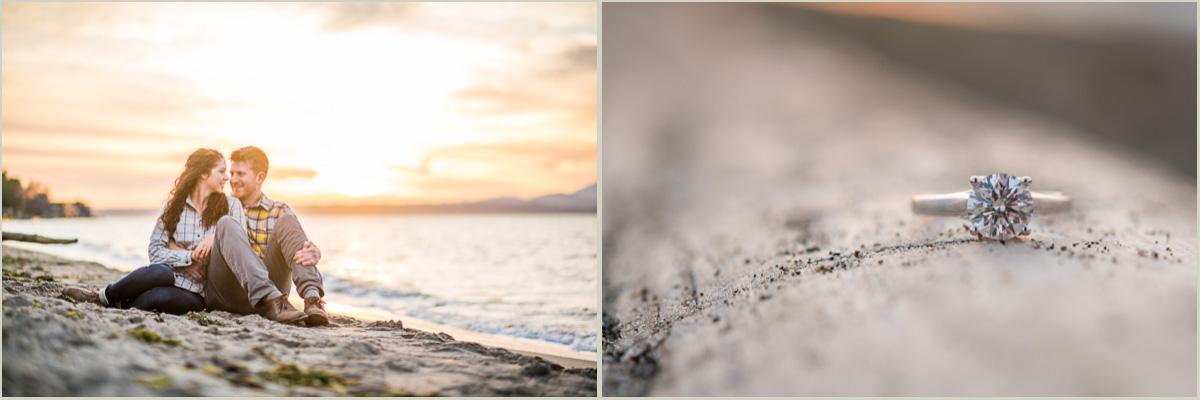 Alki Beach Sunset Engagement Photos