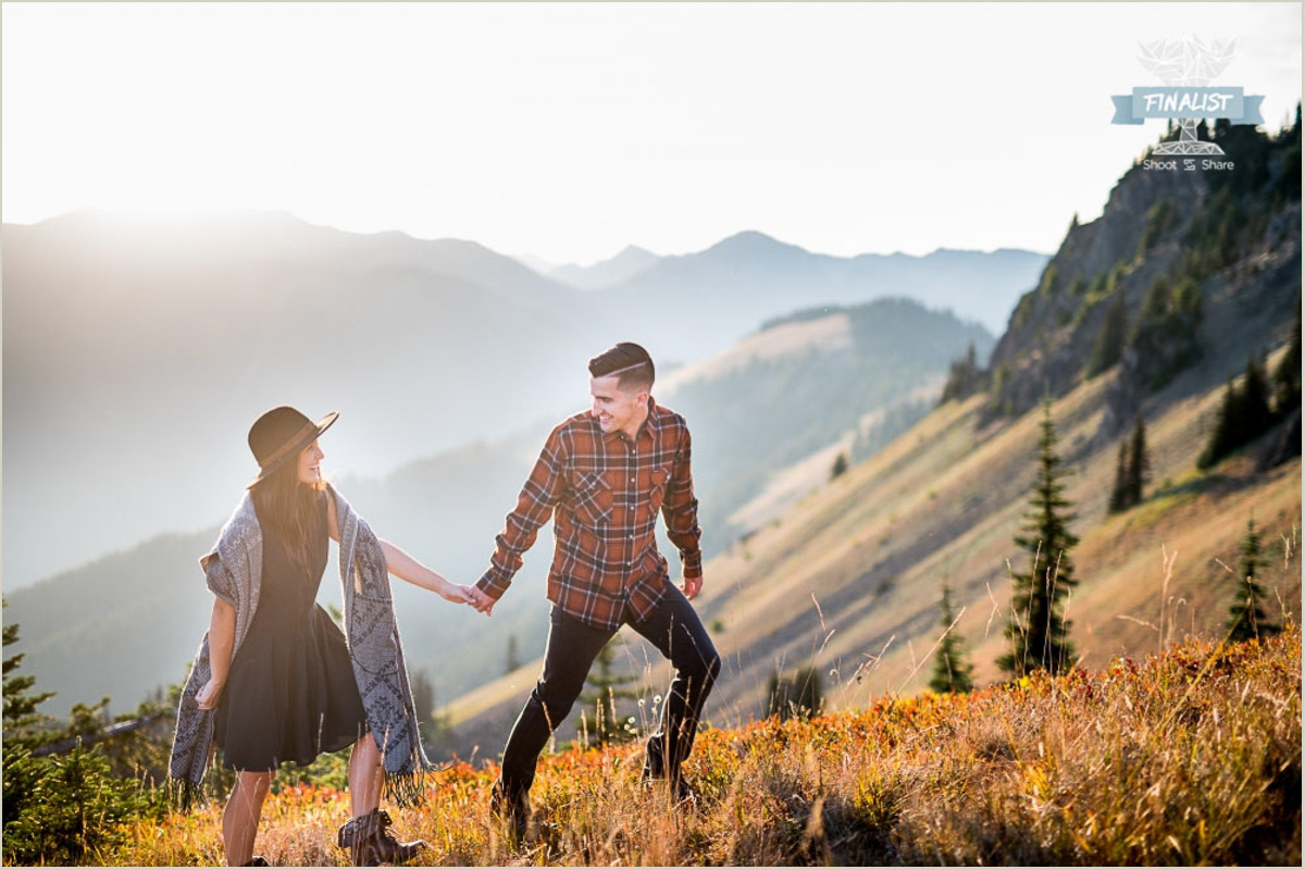 Hurricane Hill Olympic National Park Hike Engagement Photo