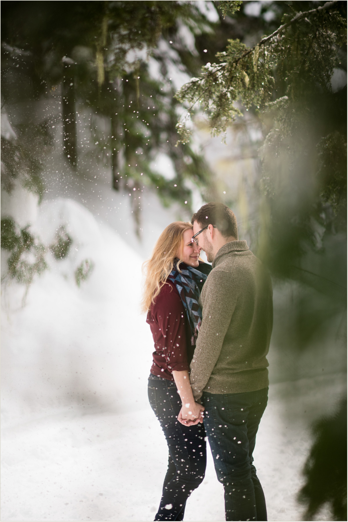 Adventurous Winter Mountain Engagement Session Hike