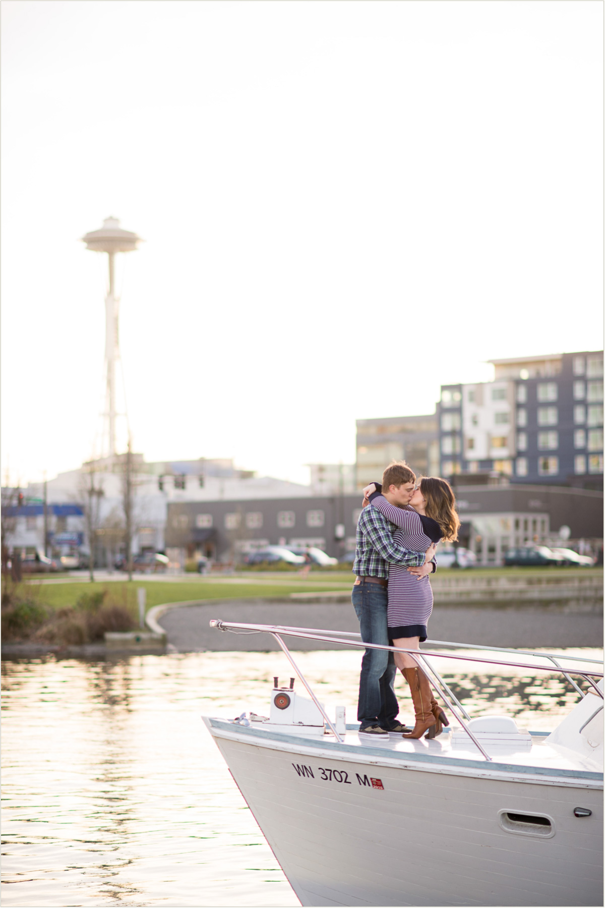 Couple Kissing in front of Space Needle
