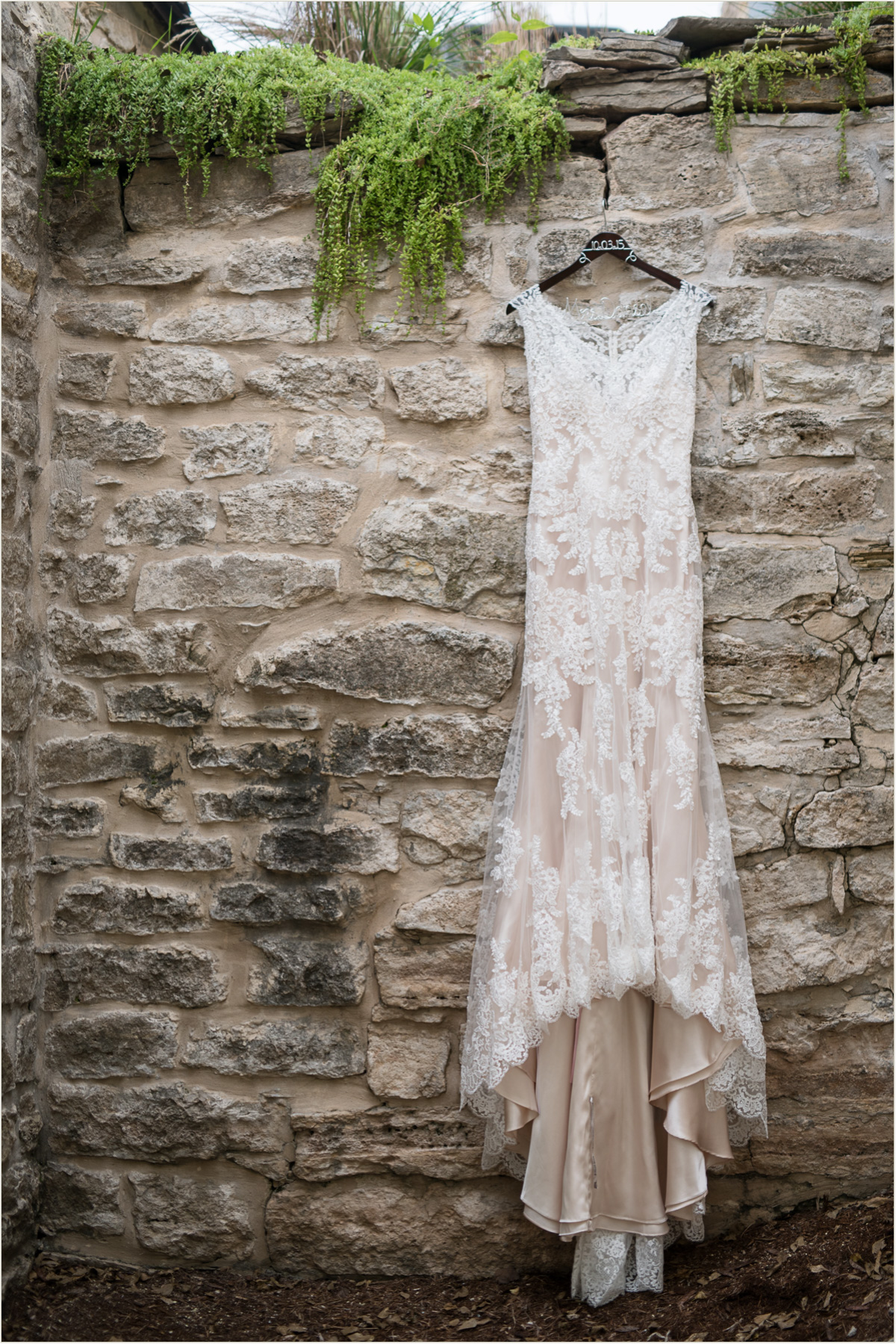 Lace Wedding Dress Hanging at Prairiewood Stone House