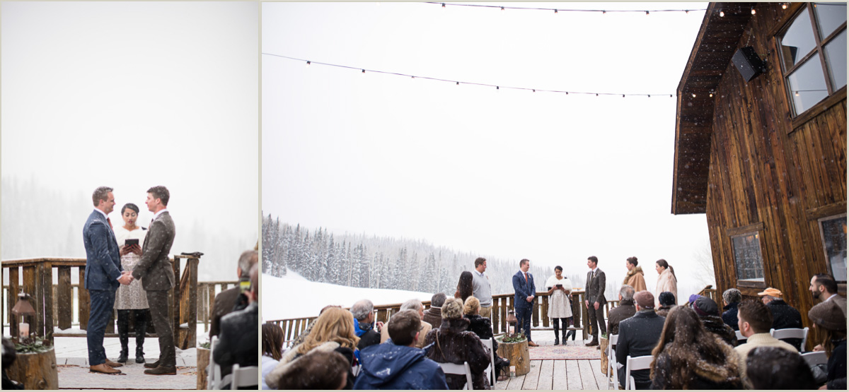 Same Sex Winter Wedding at Gorrono Ranch in Telluride Colorado