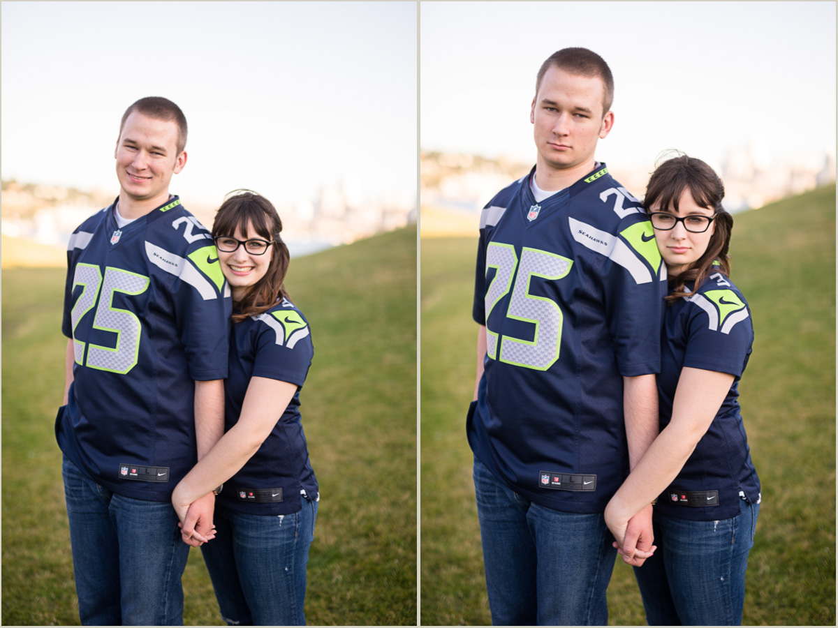 Seattle Seahawks Engagement Photos at Gas Works Park