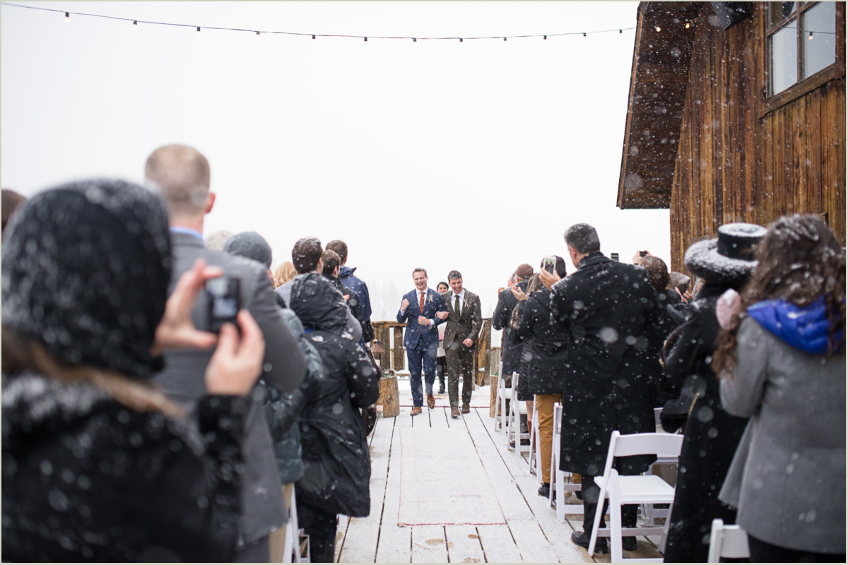 Snowy Wedding Ceremony at a Ski Lodge