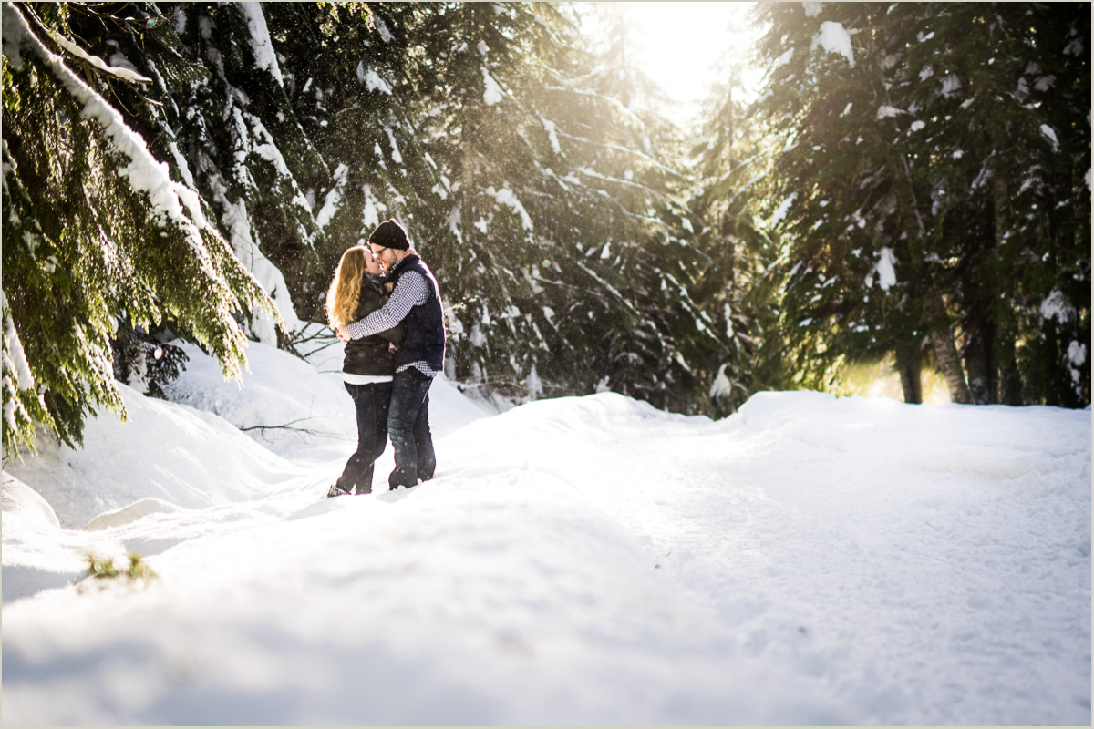 Winter Engagement Photos at Gold Creek Pond Snoqualmie Pass