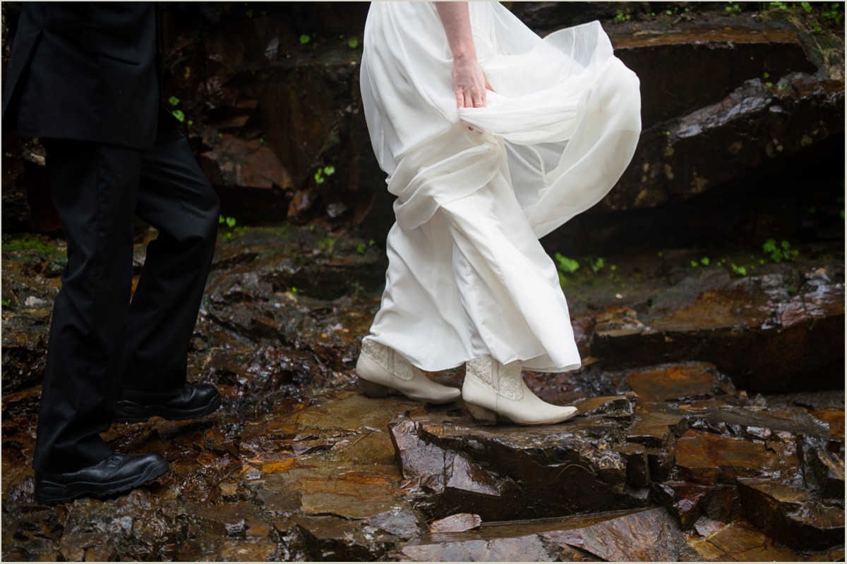 Adventurous Bride and Groom Hiking with Salt and Pine Photography