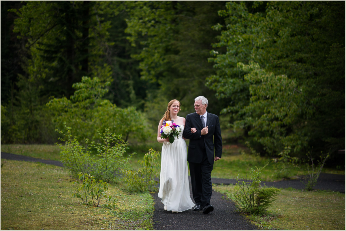 Bride Walks Down the Aisle at Gold Creek Pond at Snoqualmie Pass