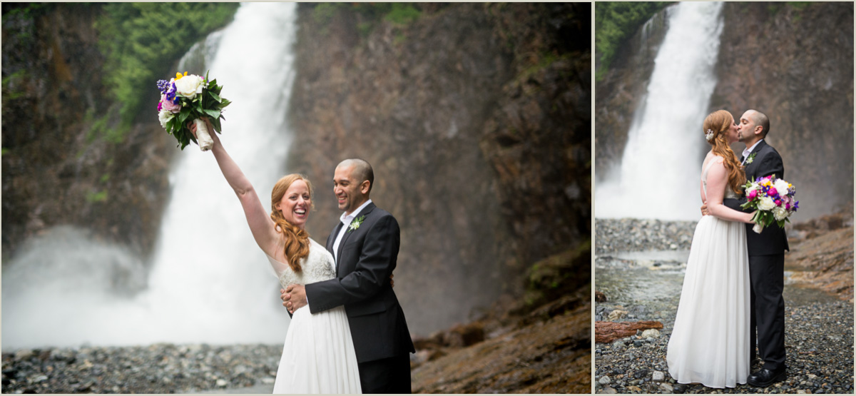 Bride and Groom at Franklin Falls