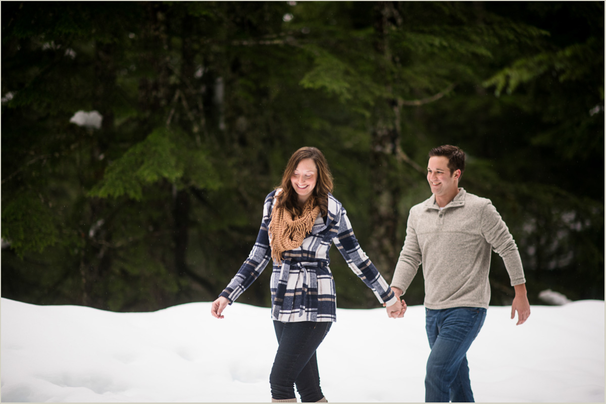 Couple Hiking in the Snow at Snoqualmie Pass