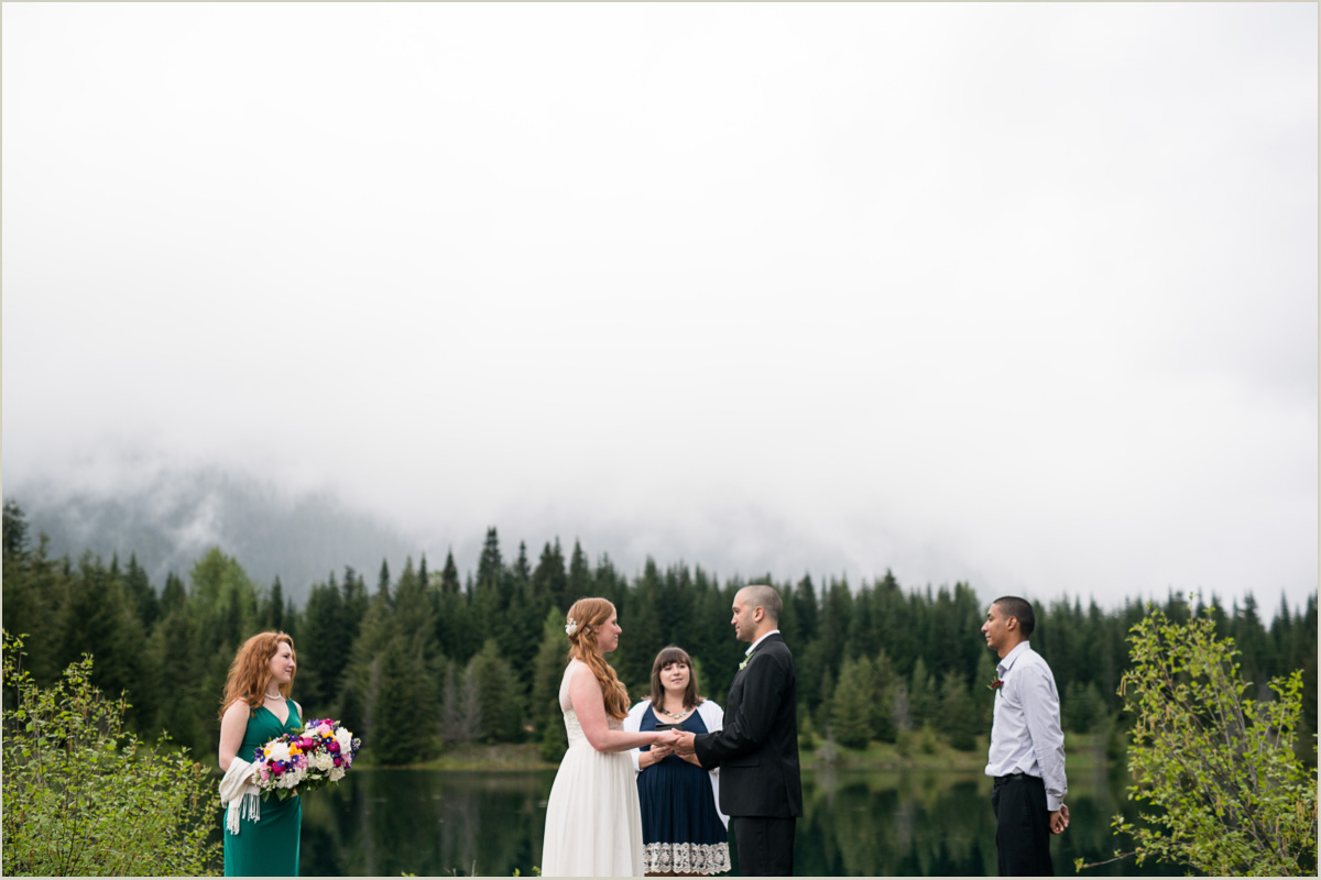 Couple Reciting their vows at Gold Creek Pond