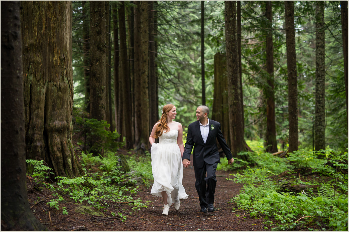 Happy Couple Running Through The Forest