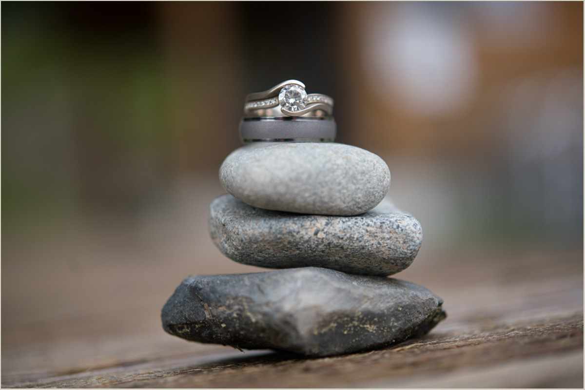 Hiking Inspired Wedding Ring Photo on Trail Cairn