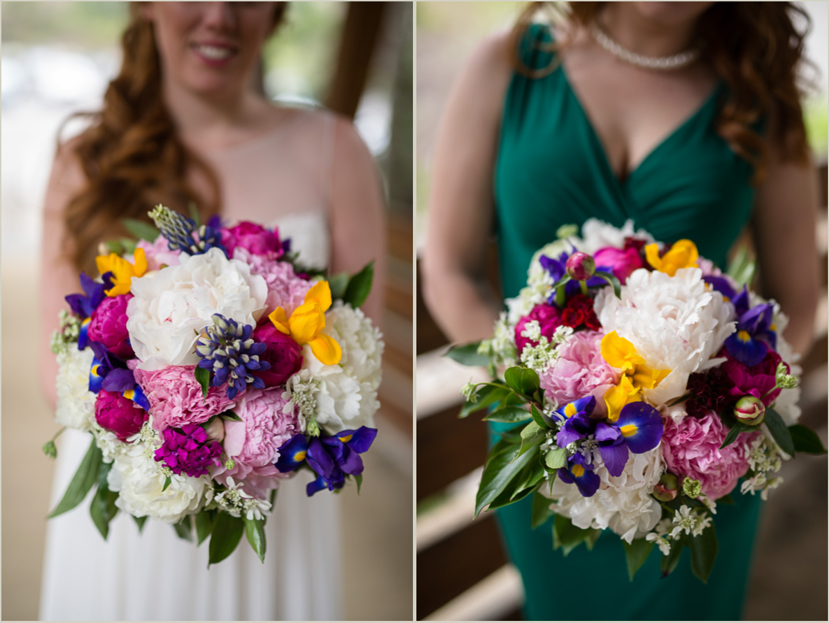 Pikes Place Market Spring Bridal Bouquet for an Outdoor Wedding at Gold Creek Pond