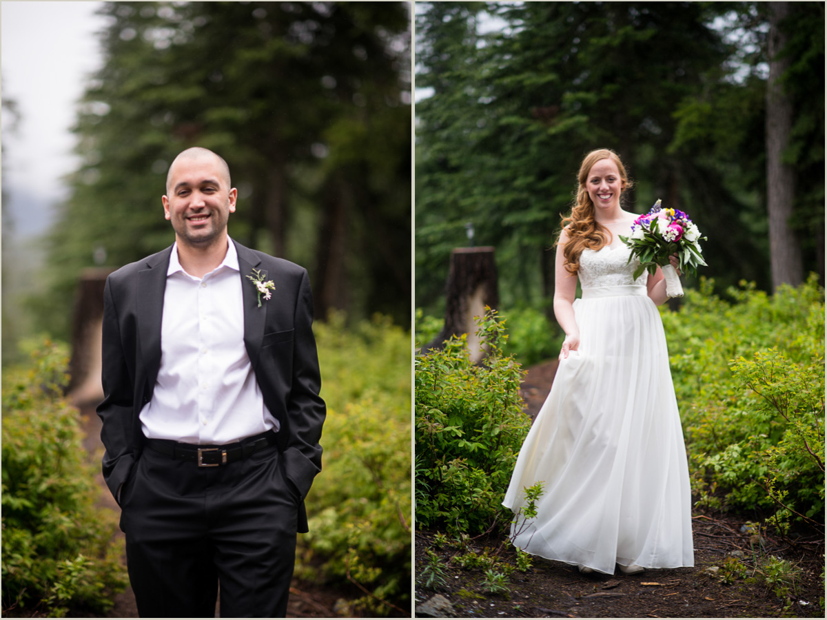 Portraits of the Bride and Groom at Snoqualmie Pass Cabin