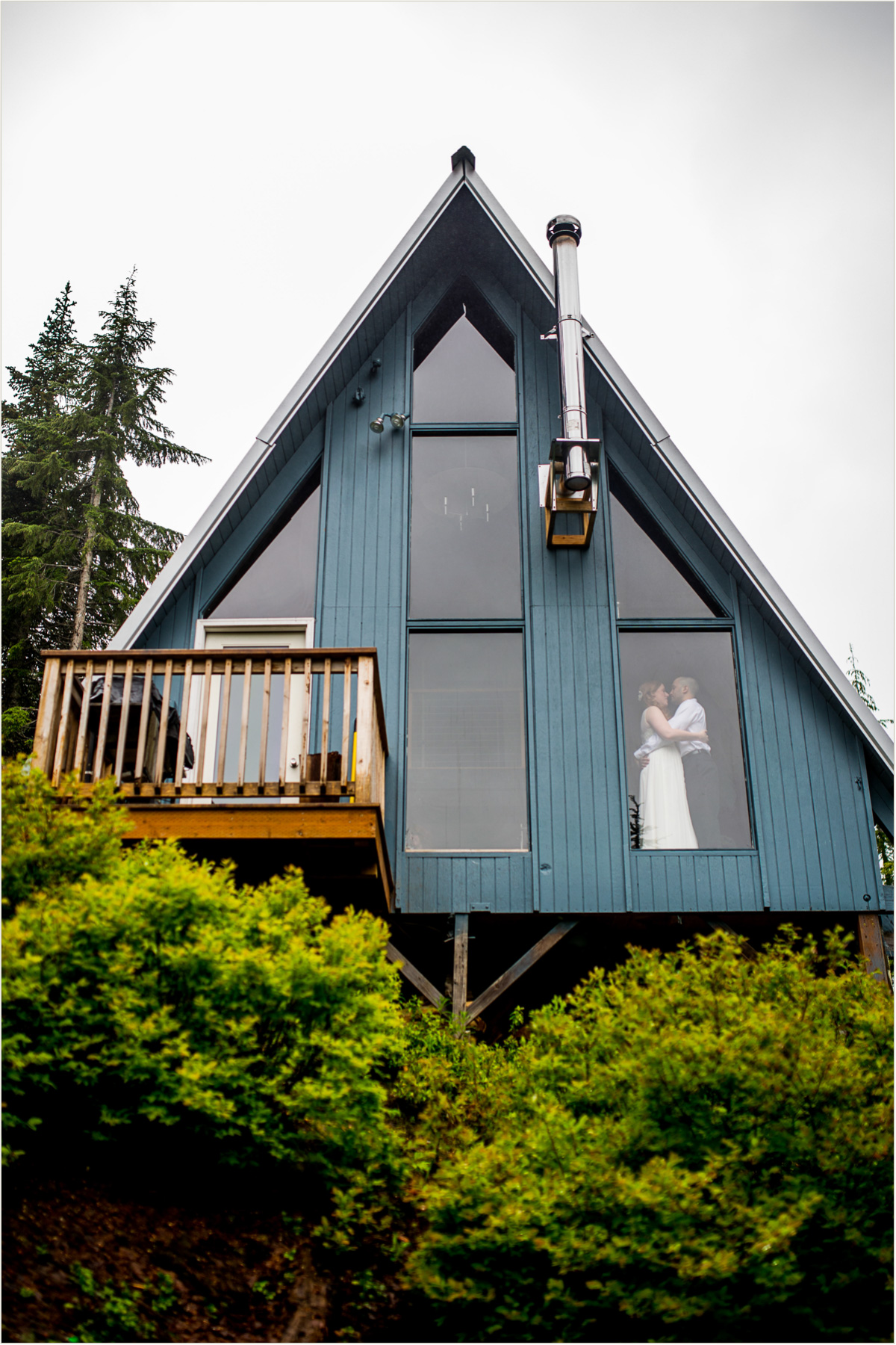 Wedding Couple in Cabin at Snoqualmie Pass Washington