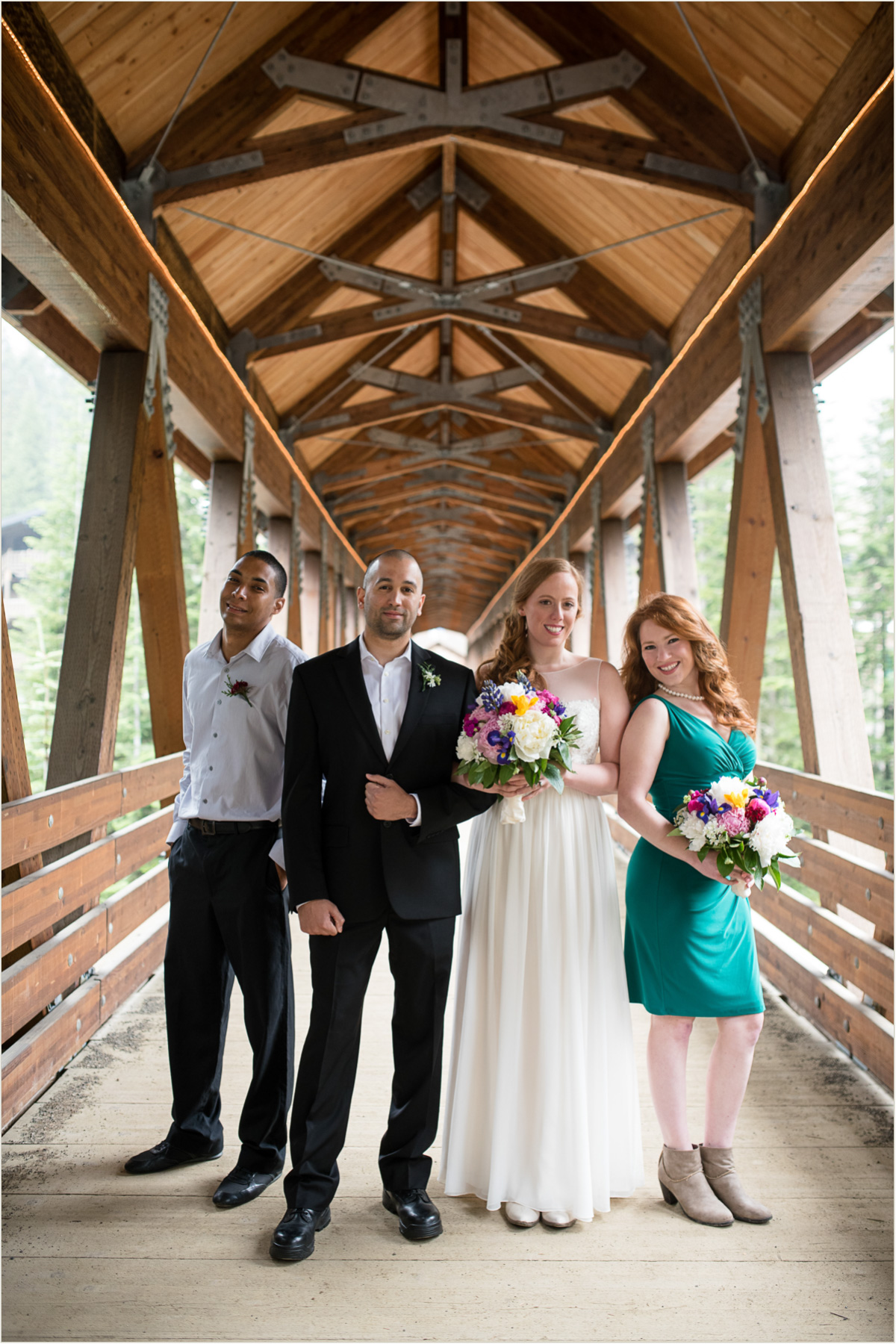 Wedding Party on the Alpental Bridge at Snoqualmie Pass