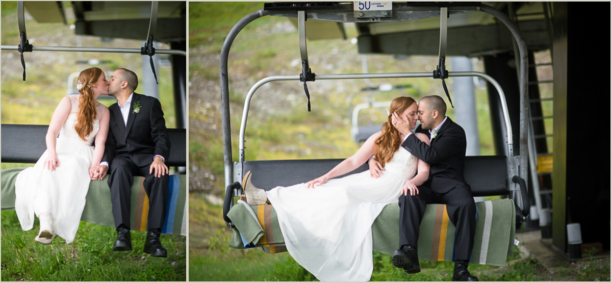 Wedding Photos on a Chair Lift at Snoqualmie Pass