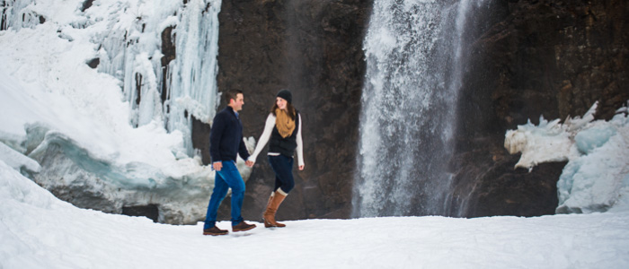 Winter Waterfall Hike Engagement Photos | Seattle Wedding Photographers