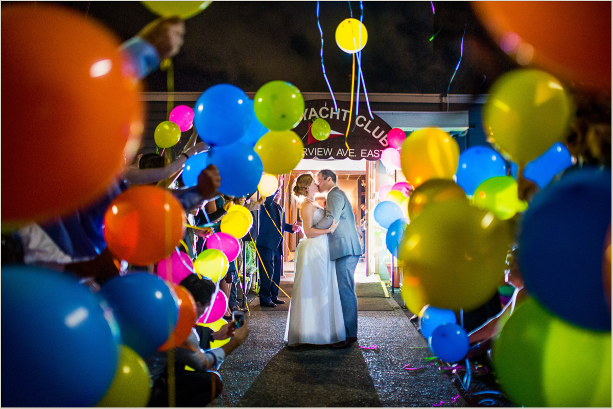 Balloon Exit Tyee Yacht Club Wedding