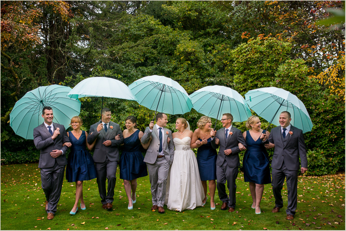 Bridal Party Photos on a Rainy Day