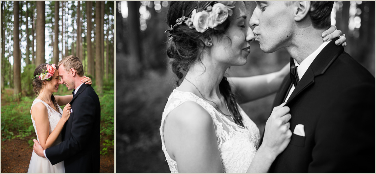 Groom Kissing Brides Nose Authentic Emotional Images