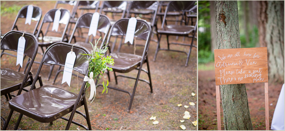 Outdoor Wedding Seating Arrangement and Sign
