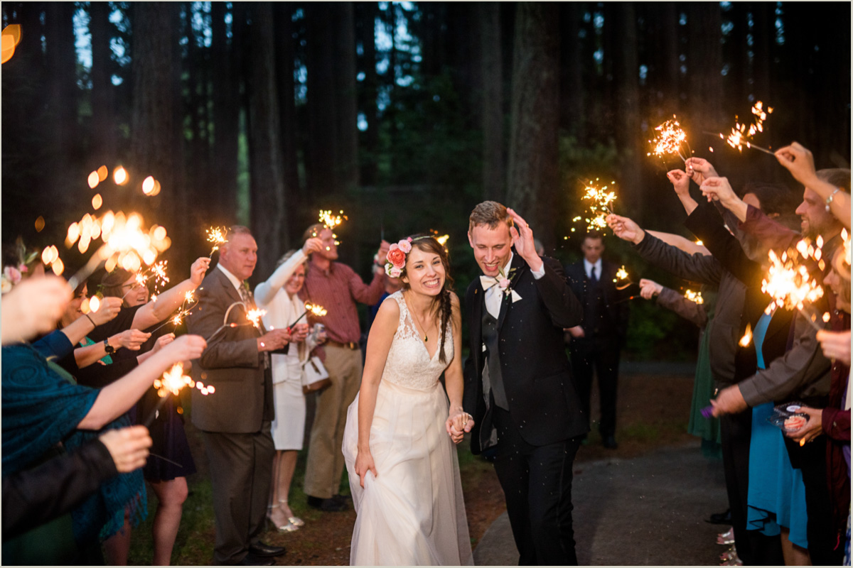 Sparkler Send Off at Kitsap Memorial State Park Wedding
