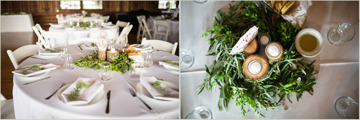 Tables Decorated in Greenery for Wedding