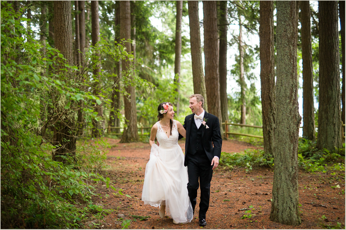 Wedding Couple Running Through Woods