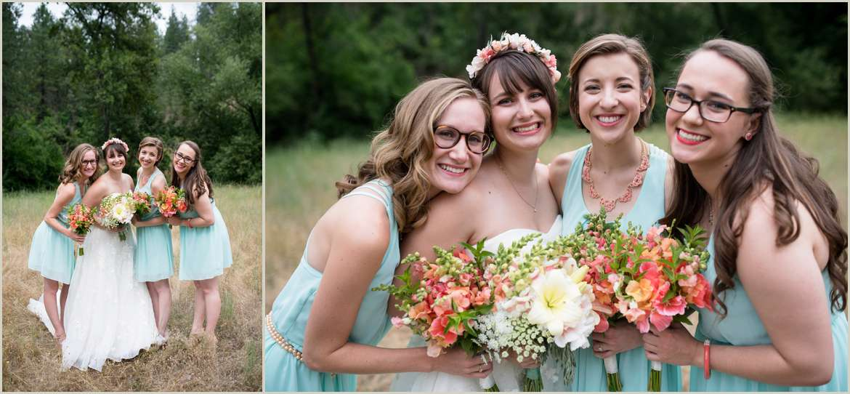 bridesmaids-wearing-teal-dresses