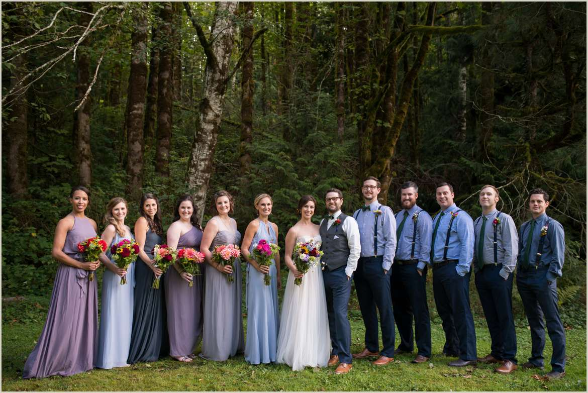 blue and purple wedding party colors
